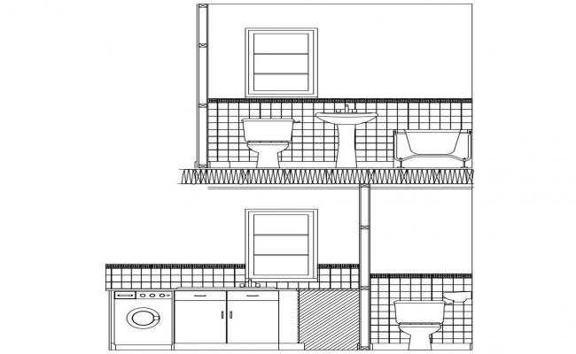 Bathroom Section Drawing CAD file