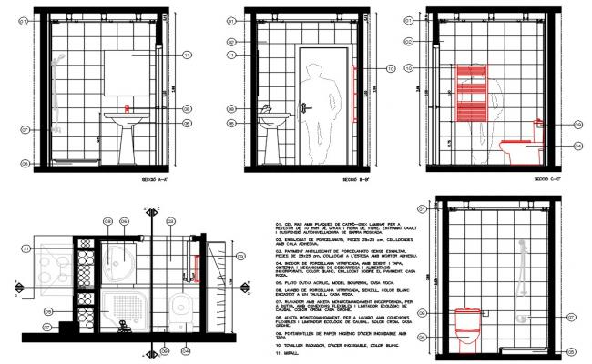 Bathroom Section Plan DWG File