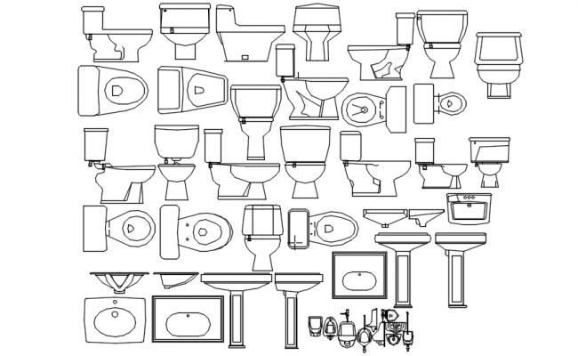 Bathroom accessories in dwg file