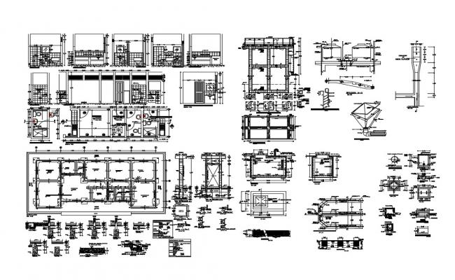 Bathroom and toilet construction and installation details dwg file