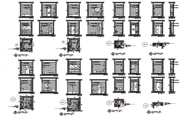 Bathroom cut sections, plans and installation details dwg file