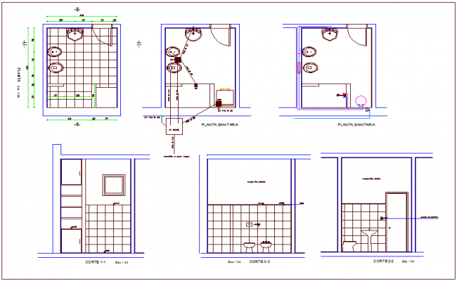 Bathroom design with sectional view dwg file