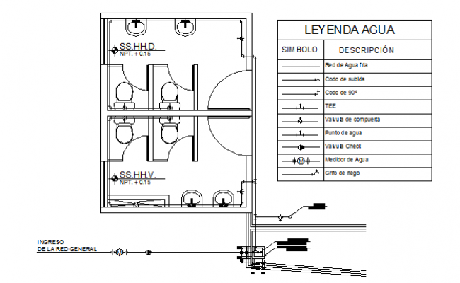 Bathroom detailing top view layout