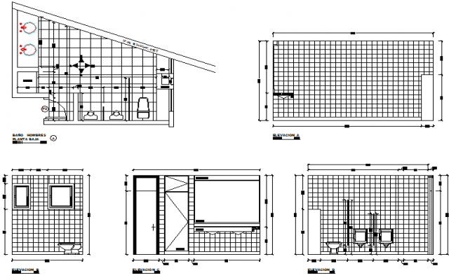 Bathroom details of house with sectional view dwg file