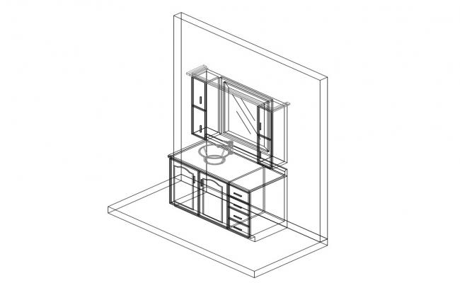Bathroom dressing table cabinet isometric view cad drawing details dwg file
