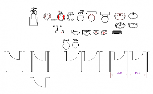 Bathroom equipment plan detail dwg file.