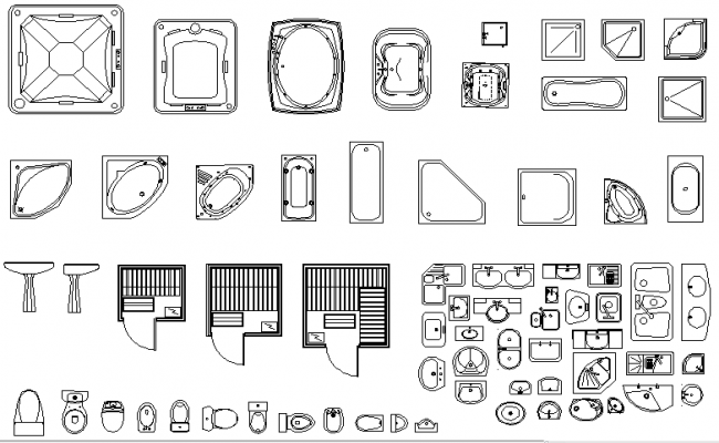 Free Bathroom Fitting details In AutoCAD Drawings