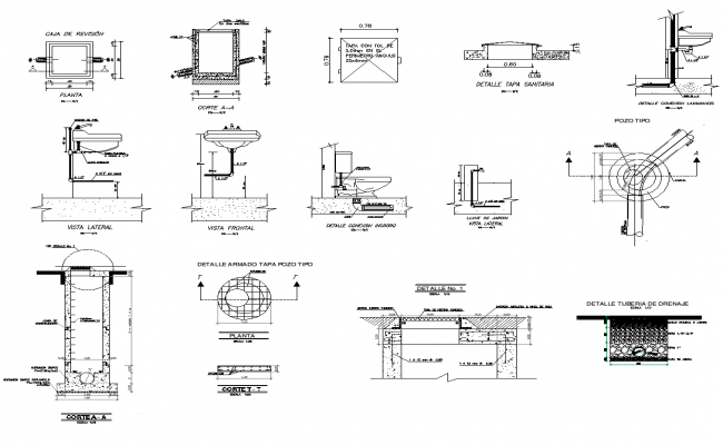 Bathroom fixtures and appliances detail section 2d view layout file
