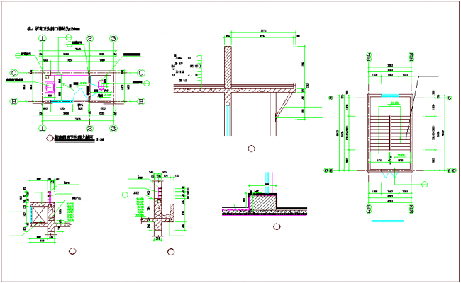 Bathroom Plan And Section View Dwg File