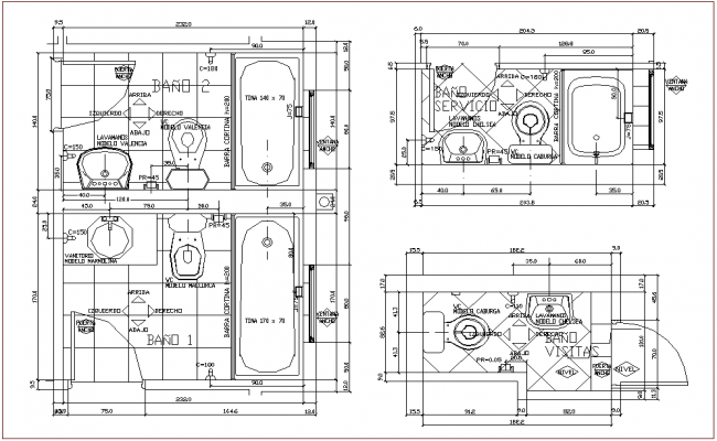 Bathroom plan with different design view for apartment dwg file