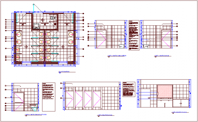 Bathroom plan with view of bathroom knight for center of communal participation dwg file