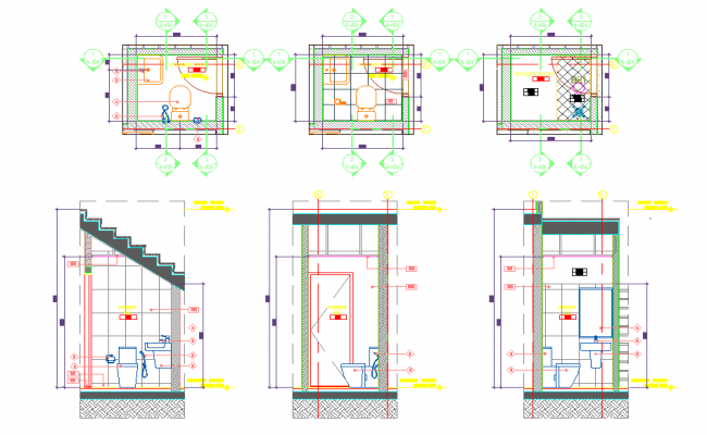 Bathroom toilet plan detail view dwg file