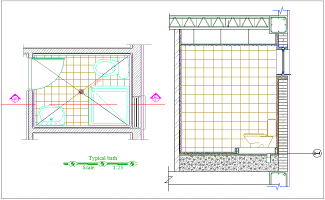 Bathroom typical design plan and section view for apartment dwg file