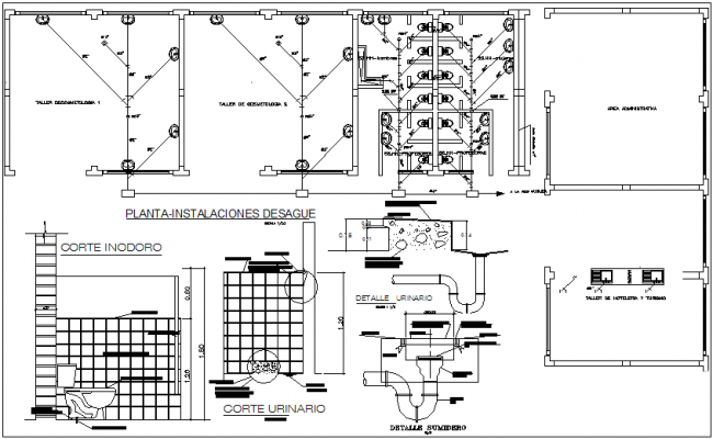 Bathroom Washroom Plan Detail View And Water Plumbing Pipe Line Dwg File