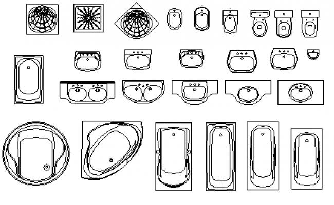 Bathtubs blocks design drawing
