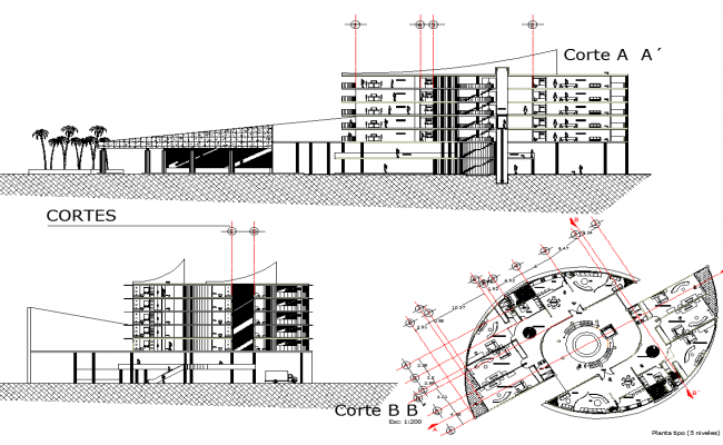 Beach Hotel Project detail dwg file