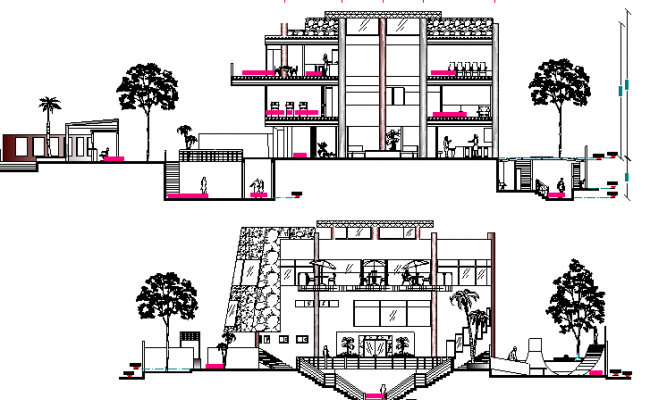Beach Side Club House Design and Section Plan dwg file