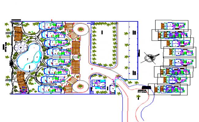Beach house plan detail dwg file