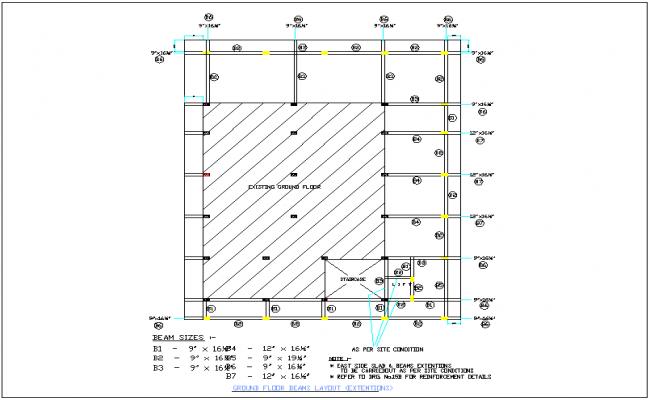 beam  slab  column  plan layout and arrangement detail