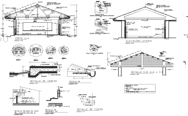Beam and Roof elevation detail dwg file