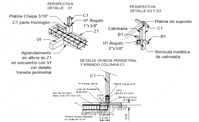 Beam and column joint section detail dwg file