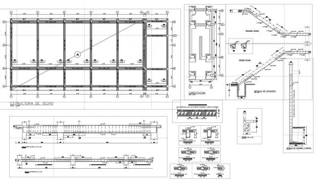 Beam and stair section plan detail dwg file