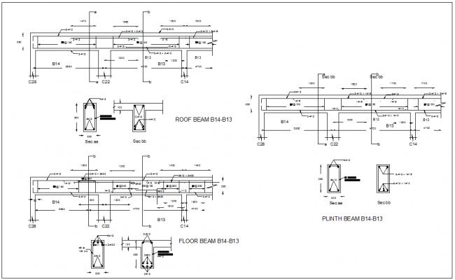 Beam design of apartment dwg file