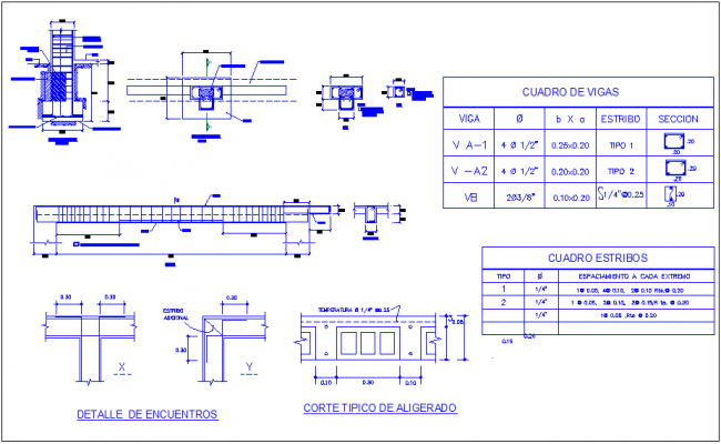 Beam detail view with structural detail for classroom dwg file