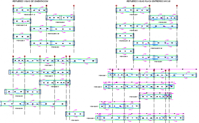Beam details of single family house project dwg file