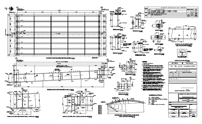 Beam for bridge detail plan and elevation layout autocad file