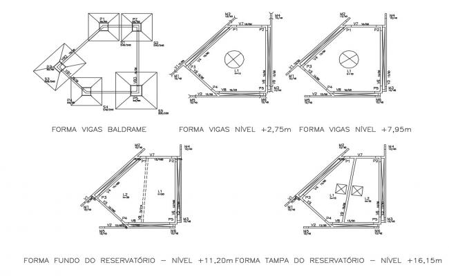 Beam formation, foundation and structure details dwg file