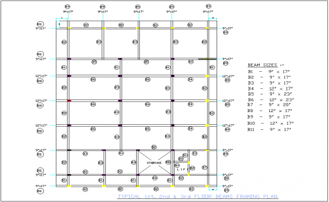 Beam framing plan for first to third floor with size of structure view for office area dwg file