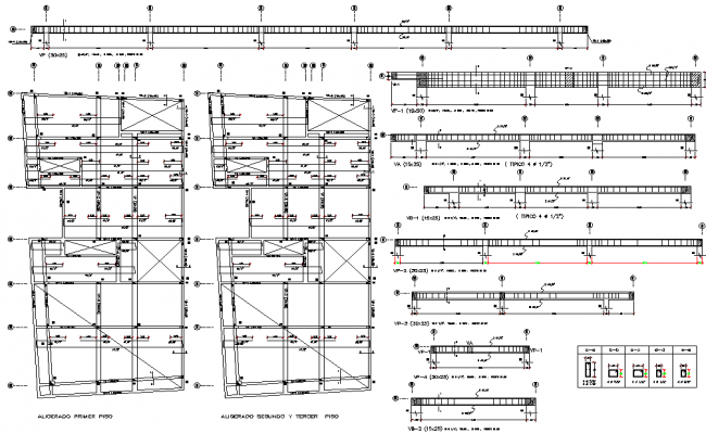 Beam plan and section detail dwg file