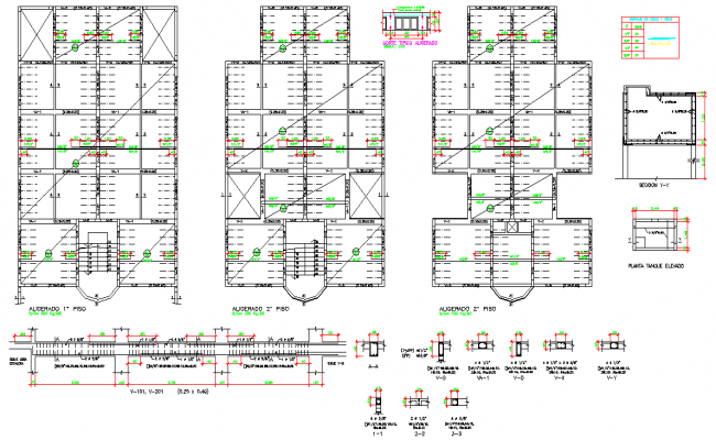 Beam plan and section dwg file