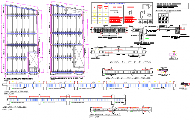 Beam plan and section plan detail dwg file