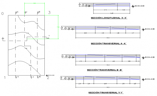 Beam plan and section plan layout file