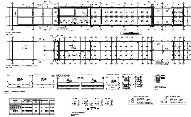 Beam plan and section working house plan detail