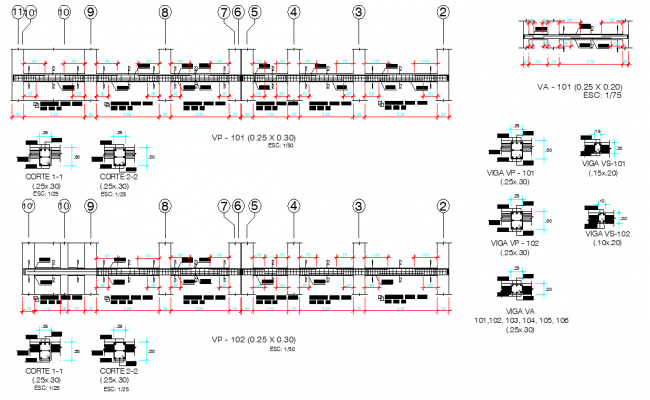 Beam section plan autocad file