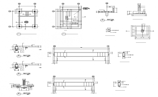 Beam to column connection detail 2d section and plan layout file