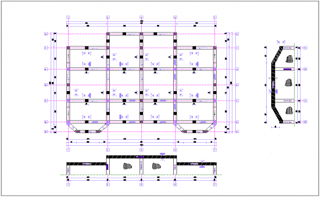 Beam view in plan with structural view for duplex house dwg file