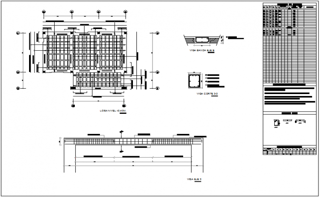 Beam view with structural detail view of community center dwg file