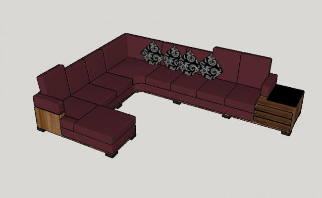 Beautiful L shape 3d sofa set design cad drawing details dwg file
