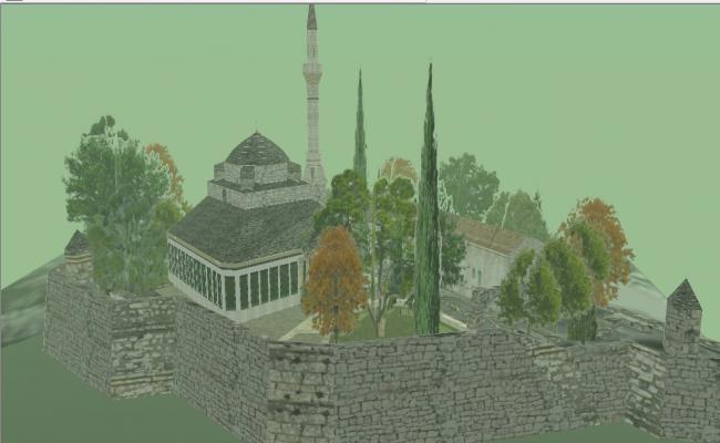 Beautiful aslan pasha mosque building 3d model cad drawing details skp file