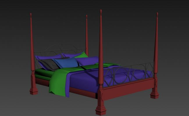 Beautiful double bed 3d model cad drawing details max file