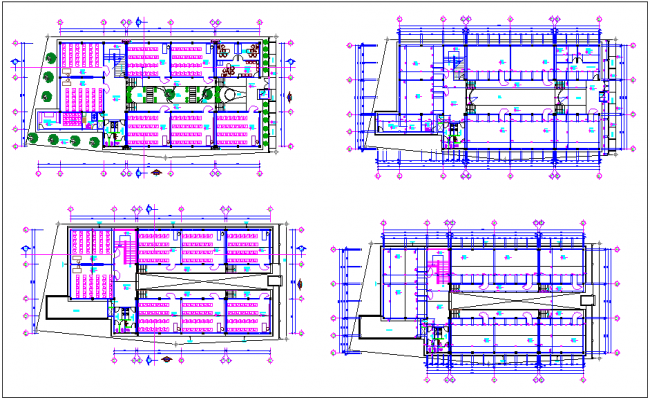 Beautiful floor view of school with villa dwg file