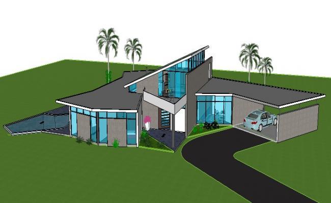 Beautiful luxuries villa building 3d model cad drawing details skp file