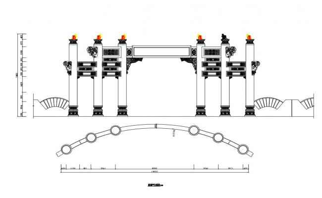 Beautiful main entry gate elevation, section and auto-cad details dwg file