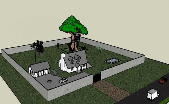 Beautiful one family house 3d model cad drawing details skp file