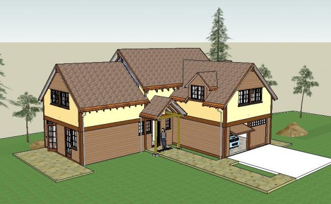 Beautiful one family residential bungalow 3d drawing details skp file