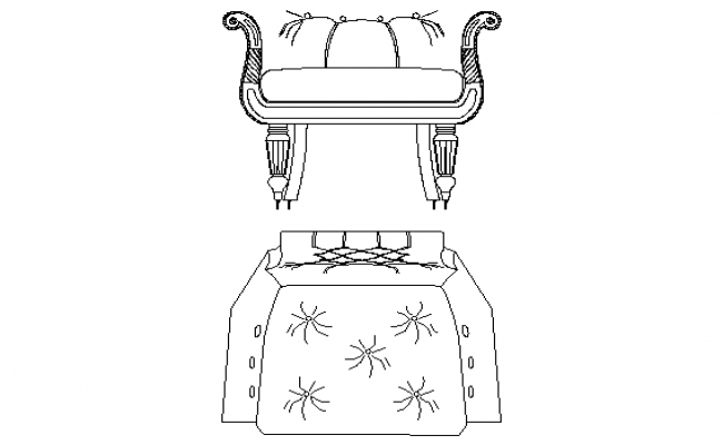 Beautiful sofa chair front details